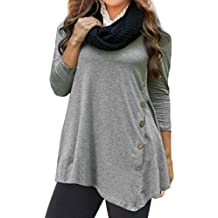 Misaky Plus Size Women's Tops 3/4 Sleeve Button Scoop Neck A-Line Oversized Tunic Blouse