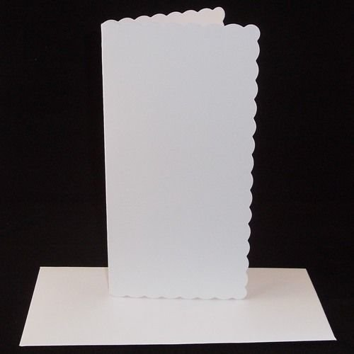10 x DL White Scalloped Card Blanks With White Envelopes Stella Crafts