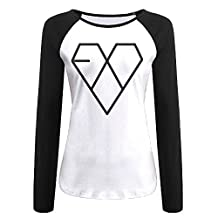 Kpop EXO Logo Women's Contrast Long Sleeve T Shirt