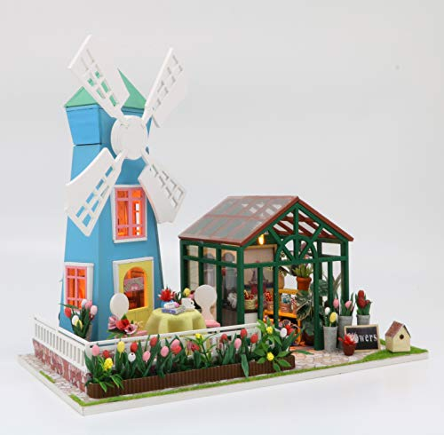 Flever Dollhouse Miniature DIY Music House Kit Manual Creative with Furniture for Romantic Artwork Gift (Amsterdam Windmill Flower House) ()