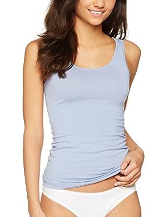 Iris & Lilly Camiseta de Tirantes de Algodón para Mujer, Pack DE 2, 1 x Azul Vaquero & 1 x Azul Brillante, X-Small