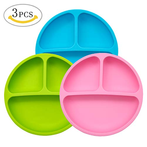 Silicone Plates - MMTX Silicone Divided Toddler Plate - 3pcs Cute Nonslip Plates Dishes Bowles for Babies Toddlers Kids Safe Use in Dishwasher Microwave and Oven by MMTX