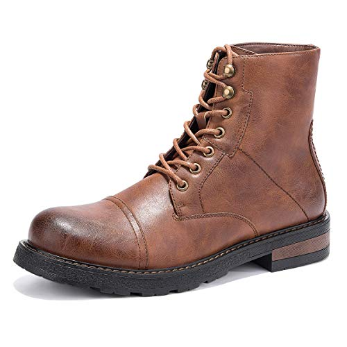 GM GOLAIMAN Winter Work Boots for Men-Lace Up Cap Toe Ankle Boot for Military Tactical Combat Hiking Motorcycle Brown 9.5