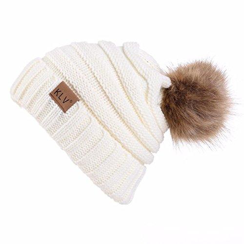 RNTOP Men Women Baggy Warm Venonat Crochet Winter Wool Knit Ski Beanie Skull Slouchy Caps Hat (White)