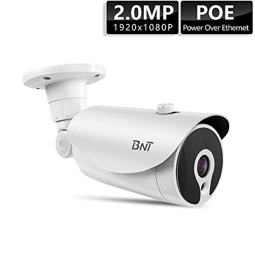 BNT 1080P PoE IP Camera, 1080P Bullet CCTV Camera, Indoor/Outdoor Wired Suveillance Camera,66ft Night Vision IP67 H.265 Onvif 7/24 Monitoring,No Need Power Adapter