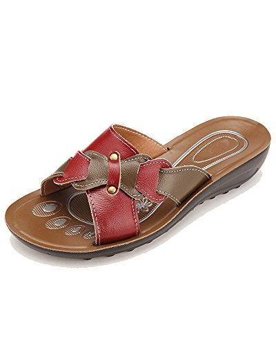 Women's Casual Comfortable Real Leather Ladies Wedged Summer Shoes (US 6.5, red 1) by Duberess