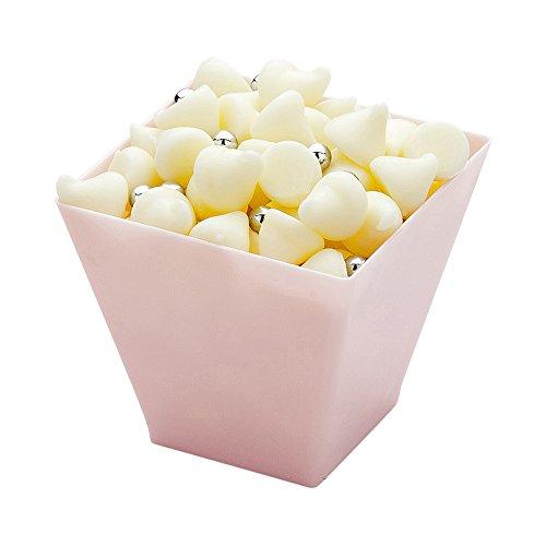 (Mini Dessert Tumbler, Dessert Cup, Square Plastic Cup - Powder Pink - 2 oz - Disposable - 100ct Box - Kova - Restaurantware)