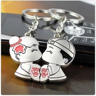 Chinese Lovers Double Happiness Kissing Couple Stainless Steel Keychain & Keyring With Gift Box ()