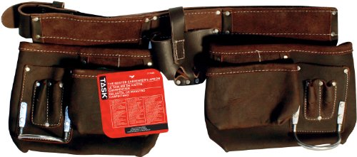 (Task Tools T77358 Carpenter's Apron, Oil-Tanned Dark Brown Leather, 12-Pocket)