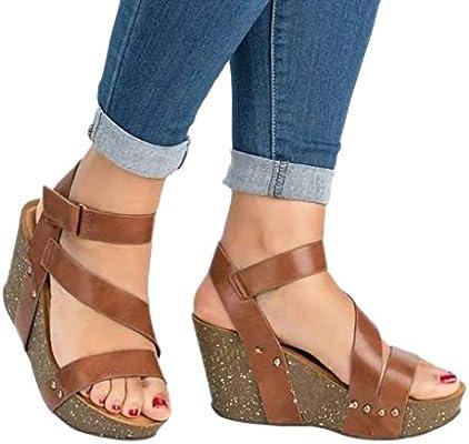 53ab9466c76c Amazon.com  AIMTOPPY Retro Fashion Womens Open Toe Wedge Shoes Leather  Platform Rivet Braid Strap Roman Sandals  Cell Phones   Accessories