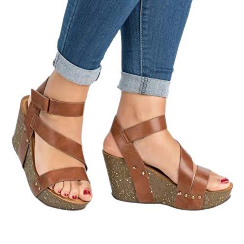 (AIMTOPPY Retro Fashion Womens Open Toe Wedge Shoes Leather Platform Rivet Braid Strap Roman Sandals)