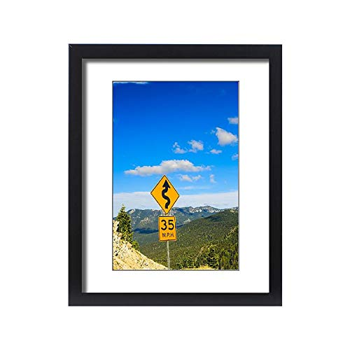 Media Storehouse Framed 20x16 Print of Winding Road Sign on Chinook Pass, just Outside of Mt (18243139)