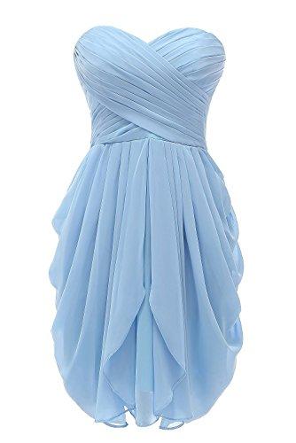 CoutureBridal® Trägerloses Damen Chiffon Kleid Cocktailkleider Kurzes Abendkleid Hellblau rR1qr6