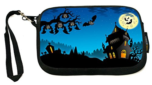 Rikki Knight Happy Halloween Haunted House hanging Bats - Neoprene Clutch Wristlet Coin Purse with Safety Closure - Ideal case for Cosmetics Case, Camera Case, Cell Phones, Passport, (Freaky Halloween Makeup)