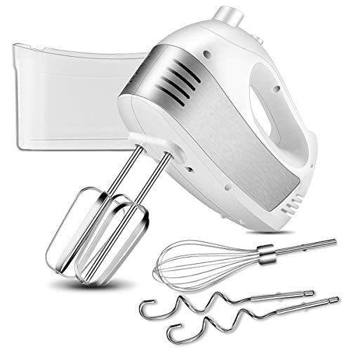 (Hand Mixer with 5-Speed 250W Power Advantage Electric Handheld Mixer with Turbo and Easy Eject Button, Includes Storage Case Beaters Dough Hooks and Balloon Whisk By KEEMO, White ...)