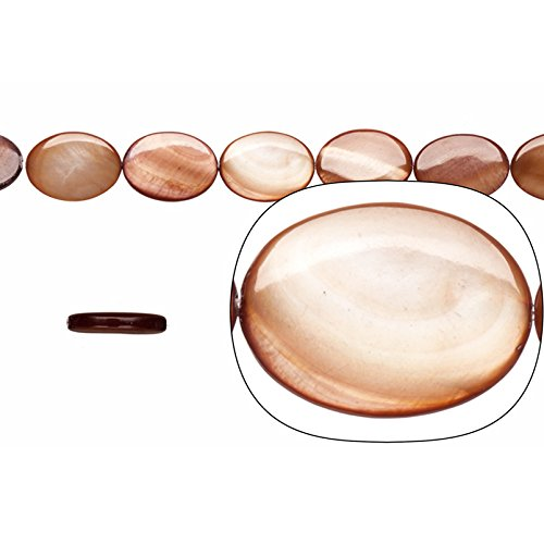 Shell Bead, Dark Brown(Dyed) Mother-of-Pearl, Oval Plate, 18x13mm 16 Inch/pack (3-pack Value Bundle), SAVE $2