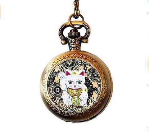 Lucky Cat reloj de bolsillo collar, colgante de gato de la suerte ...