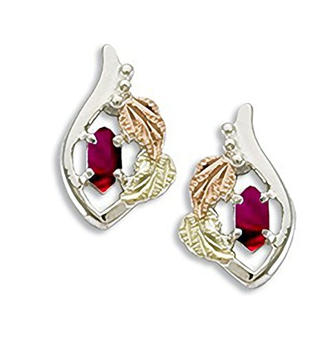 Black Hills Gold on Silver January Birthstone Earrings 5 X 2.5 MM Marquise Shaped Synthetic - Earrings Stone Synthetic