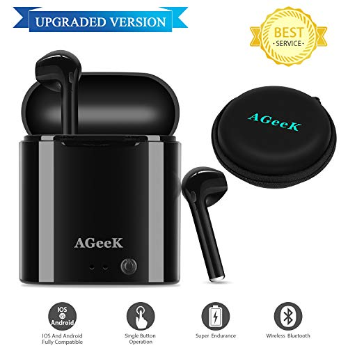 Bluetooth Headset Wireless Earbuds Bluetooth Headphones Upgraded Version Mini Size HD Stereo in-Ear Noise Canceling Earphones with Mic Charger Case Compatible with iPhone iOS Android Smart Phones by AGeeK