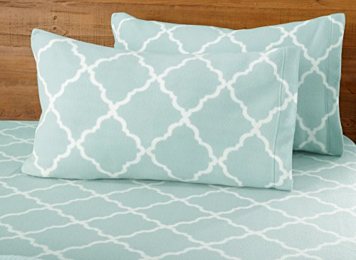 Great Bay Home Super Soft Extra Plush Polar Fleece Sheet Set. Cozy, Warm, Durable, Smooth, Breathable Winter Sheets with Cloud Lattice Pattern. Dara Collection Brand. (Twin, Cloud Blue)