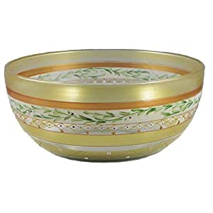 """Golden Hill Studio 11"""" Serving Salad Bowl Hand Painted in the USA by American Artists-Set of 2-Mosaic Gold Garland Collection"""
