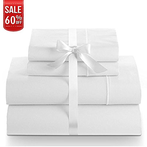 (Linenwalas 100% Cotton Bed Sheet – 800 Thread Count Deep Pocket 4 Piece Sheets|Silk Like Soft,Hypoallergenic,Breathable & Cooling | Hotel Luxury Bedsheet Clearance Deal (Queen,White))