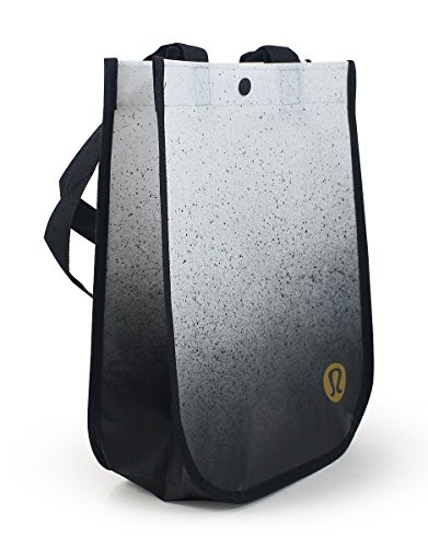 Lululemon Black White Speckled Small Reusable Tote Carryall Lunch Gift Bag New ()