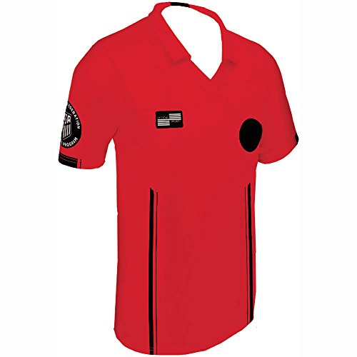 - Official Sports New USSF Men's Economy Soccer Referee SS Shirt (Medium Red)