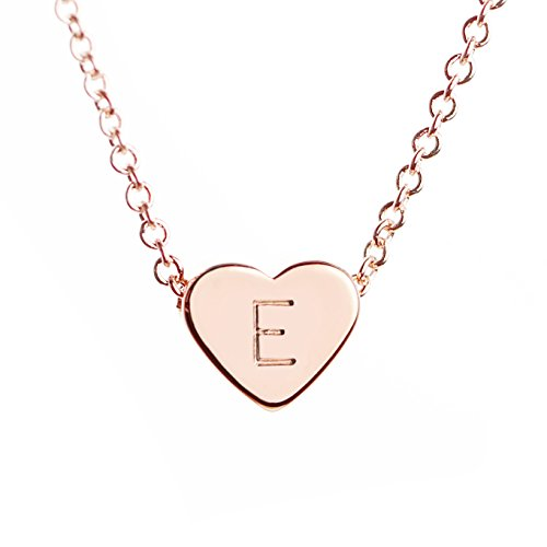 Rose Gold Heart Necklace Initial Necklace Mother's Day Gift Bridesmaid Gift Graduation Gift for Her (E)
