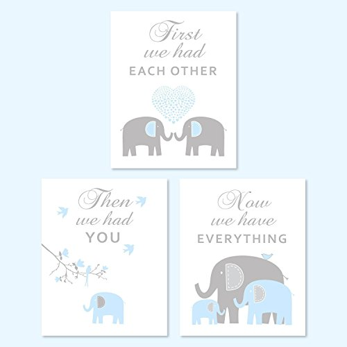 Elephant Nursery Decor - Blue Gray Elephant Art, PHOTO PRINTS or CANVAS - Playroom wall decor - SET OF - Shipping Price International Usps