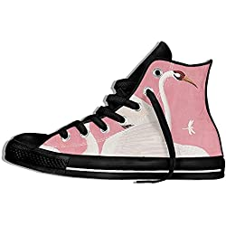 NAFQ Heron Pink Classic Canvas Sneakers Shoes Lace Up Unisex High Top
