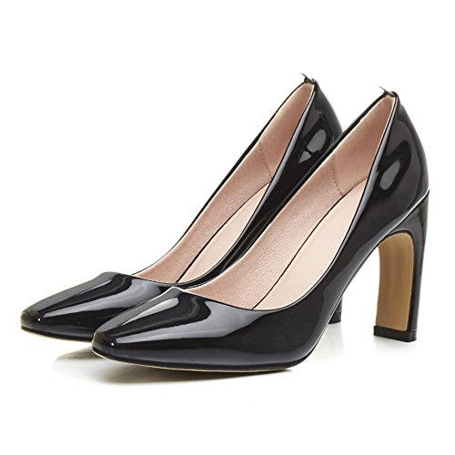 Meotina Women Pumps Square Toe High Heels Black YG1GDes