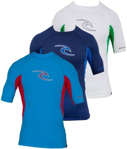Rip Curl Youth Wave Short Sleeve Rash Guard Shirt, 4, White/Green