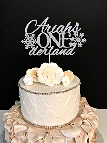 Funlaugh Any Name Glitter First Birthday Winter Wonderland Frozen Birthday Onederland Wedding Cake Toppers Wedding Gift Rustic Cake Topper for the Couple