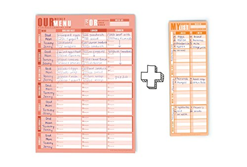 Meal Planning Made Easy: A Serious Weekly Meal / Menu Planner (Large Size - 9' x 12.5', 60 Sheets) with Shopping List: Large Columns With Plenty Of Space To Write; Magnets for Hanging