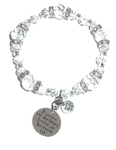 Hidden Hollow Beads Crystal Stretch Charm Bracelet, Women's Message Dangle, Comes Packaged in A Beautiful Gift Bag (A Piece of My Heart Lives in Heaven)