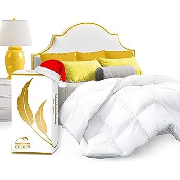 CUCUUN Real Luxury Down Comforter Queen | 100% Egyptian Cotton 1200 Thread Count 750+FP | White Goose Down Comforter | Corner Tabs for King Duvet Insert/Queen Duvet Insert/Twin Duvets