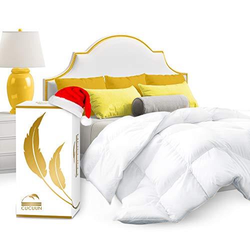 Cocoon Real Luxury Down Comforter Queen | 100% Egyptian Cotton 1200 Thread Count 750+FP | White Goose Down Comforter | Corner Tabs For King Duvet Insert/Queen Duvet Insert/Twin Duvets