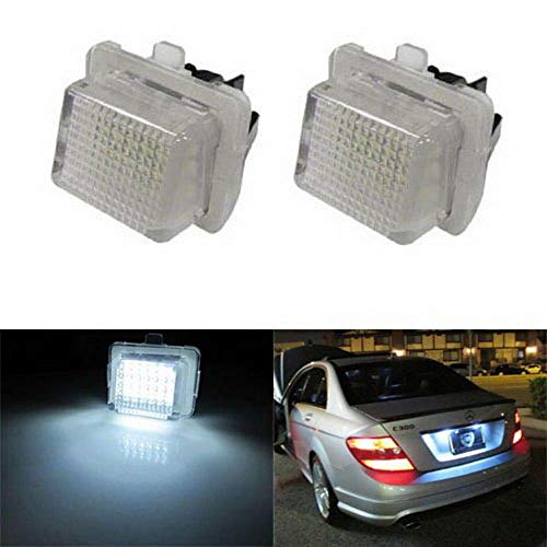 iJDMTOY OEM-Fit 3W Full LED License Plate Light Kit For Mercedes-Benz C E S Class, Powered by 18-SMD Xenon White LED & Can-bus Error Free (Mercedes Accessories Oem)