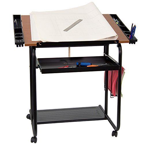 (Flash Furniture Adjustable Drawing and Drafting Table with Black Frame and Dual Wheel Casters)