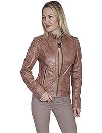 Zip Front Leather Jacket - Beige
