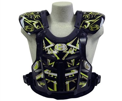 HRP Flak Jak IMS RC Motocross Chest Protector Black Yellow Gold Roost Deflector (Large)