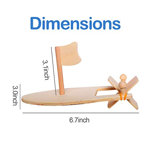 Vannana 12 Pcs DIY Wooden Sailboat Rubber Band Paddle Boat Decorate Shipping Toy Coloring Paint Arts Craft Kits for School Kids Birthday Party Gifts