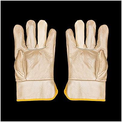 労働保護作業用手袋 労働保険特別手袋耐摩耗性焼き付き防止ガス溶接手袋、12ペア (Color : Beige, Size : L)