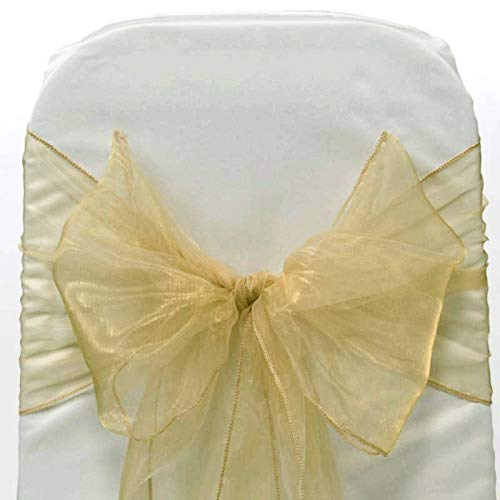 mds Pack of 100 Organza Chair sash Bow Sashes for Wedding and Events Supplies Party Decoration Chair Cover sash -Champagne Gold