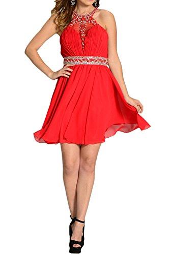 Linie Elegant Chiffon Partykleid Brautjunfernkleid Rot Ivydressing Steine Abendkleid A Damen Kurz tRnHqax