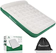Brace Master Air Mattress with Pillow, Blow up Air Bed, Waterproof Flocked Air Mattress Double, 203 x99(152) x