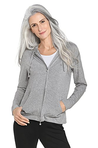 Coolibar UPF 50+ Women's Seaside Hoodie - Sun Protective (2X- Grey Heather)
