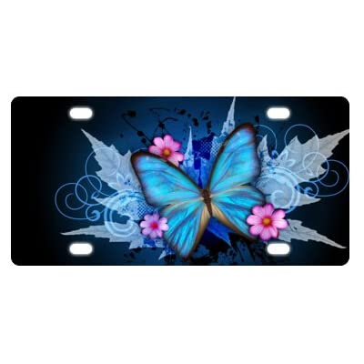 "6"" X 12"" Stylish Flowers & Blue Butterflies Pattern Metal Car Plate,License Plate,Car Tag: Sports & Outdoors"