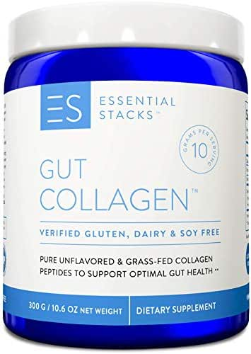 Essential Stacks Collagen Peptides Powder - Grass-Fed Hydrolyzed Collagen Protein Supplement for Gut Support Plus Hair, Skin & Nails. 3rd Party Verified Gluten, Dairy & Soy Free - Unflavored